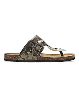Leather Look Camo Footbed Toe Post Sandal