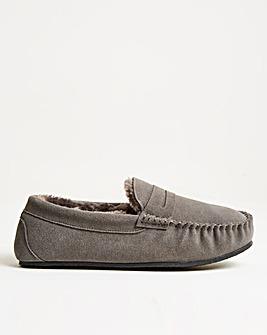 Grey Suede Saddle Loafer Slipper Standard Fit
