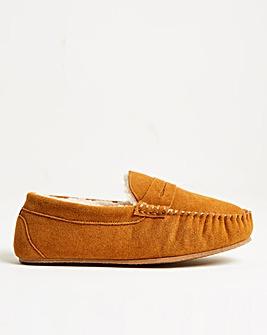 Tan Suede Saddle Loafer Slipper Standard Fit