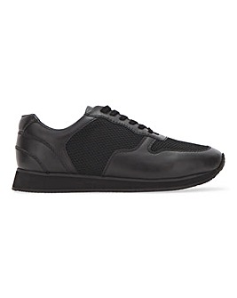 Black/Grey Leather Mix Runner Trainer Wide