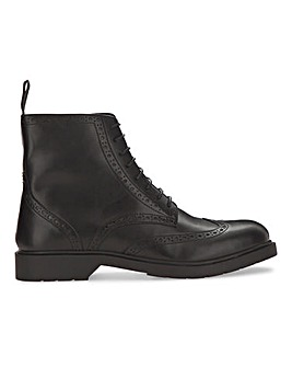 Black Comfort Leather Look Brogued Boot Wide