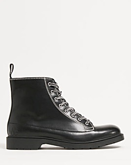 Black Comfort Leather Look Monkey Boot