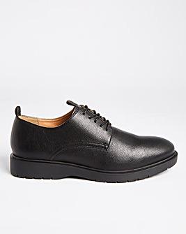 Black Lace Up Pebble Grain Shoe Wide
