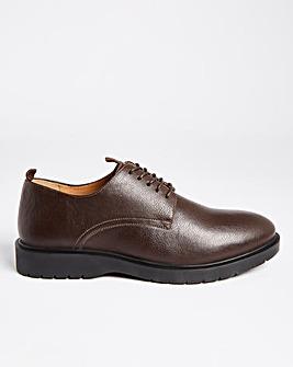 Brown Lace Up Pebble Grain Shoe Wide