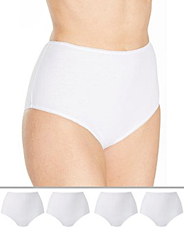 Naturally Close 4 Pack Full Fit Cotton White Briefs
