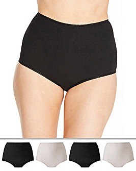 Pretty Secrets 4 Pack Cotton Rich Full Fit Black/Blush Briefs