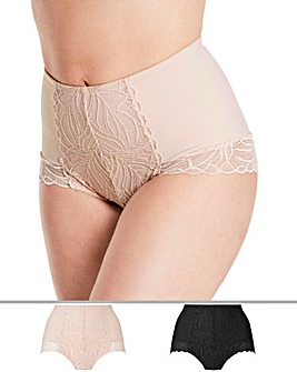 2Pack Firm Control Blush/Black Briefs
