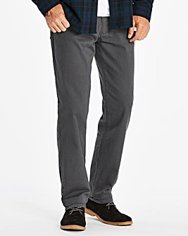 Straight Gabardine Charcoal Jeans 27 in