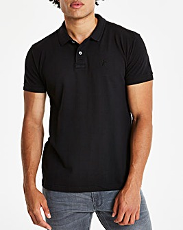 Black Short Sleeve Polo Long
