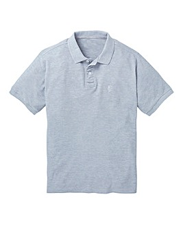 Grey Marl Short Sleeve Polo Long