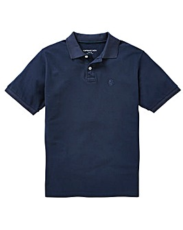 Navy Short Sleeve Polo Long