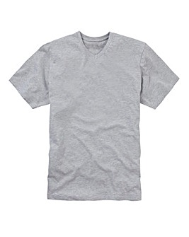 Grey Marl V-Neck T-shirt Long