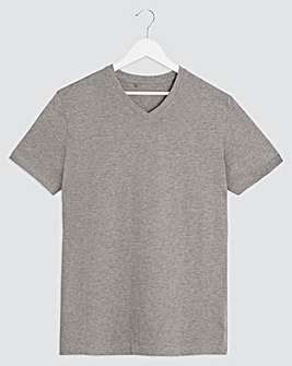 Grey Marl V-Neck T-shirt Regular