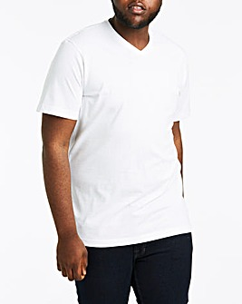 White V-Neck T-shirt Long