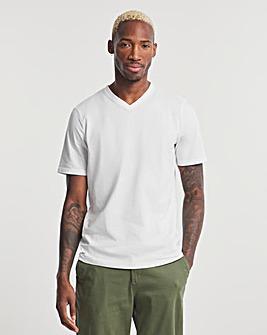 White V-Neck T-shirt Long