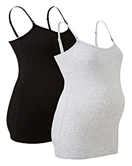 2 Pack Cotton Blk/Grey Maternity Vests