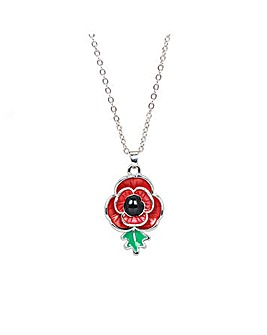 Rhodium plated enamel Poppy pendant