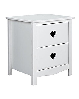 Mia 2 Drawer Bedside Table - White