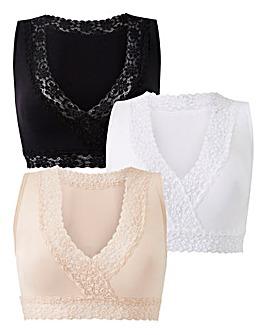 Naturally Close 3 Pack Black/White/Blush Lace Trim Comfort Tops