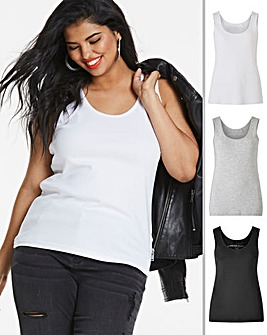 Black/ Grey/ White Pack of 3 Vests
