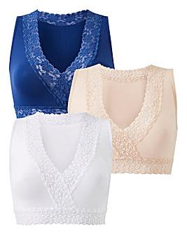 3 Pack Lace Trim Comfort Tops