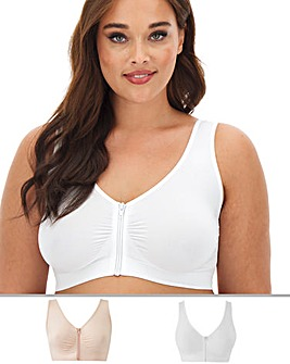 2Pk Zip Front Blush/White Comfort Tops