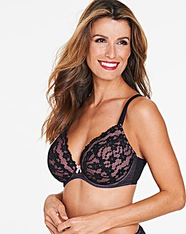 Daisy Lace Black/Pink Plunge Wired Bra