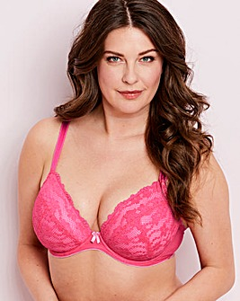Daisy Lace Pink Plunge Wired Bra