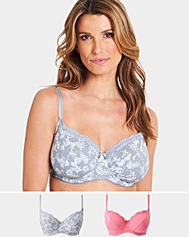 Pretty Secrets 2 Pack Sophie Full Cup Cotton Rich Grey Floral/Pink Bras