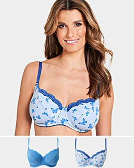Pretty Secrets 2 Pack Sophie Full Cup Cotton Rich Butterfly/Blue Bras