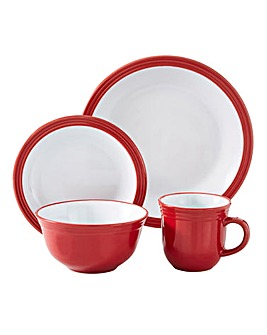 Camden 16 Piece Dinner Set Red