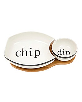 White Bamboo Chip Dip Set