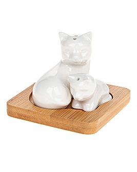 Bamboo Cat Kitten Salt and Pepper Set