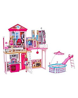 Barbie Home Set with 3 Dolls and Pool