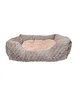 """40 Winks Grey and Pink Square Bed 24"""""""