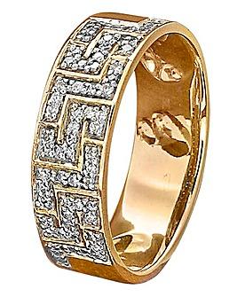 9ct Gold Greek Key Design Ring