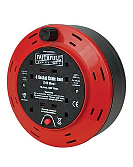 Faithfull Cable Reel 240V 10M 4 Socket