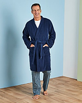 Capsule Navy Towelling Dressing Gown