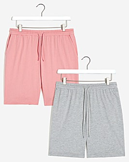 2 Pack Pink/Grey Jersey Shorts