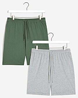 2 Pack Khaki/Grey Jersey Shorts