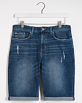 Midwash Straight Fit Denim Shorts