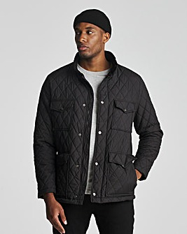 Black 4 Pocket Recycled Polyester Quilted Jacket