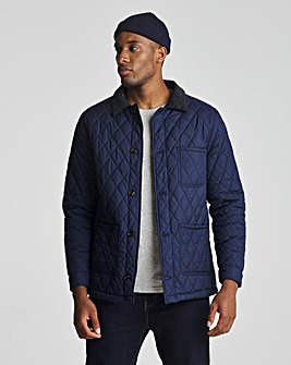 Navy 3 Pocket Recyled Polyester Quilted Worker Jacket