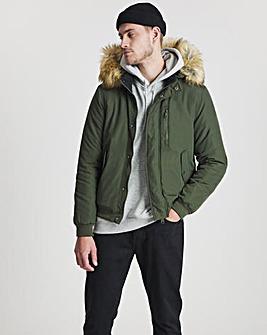 Khaki Short Hooded Bomber Parka Jacket