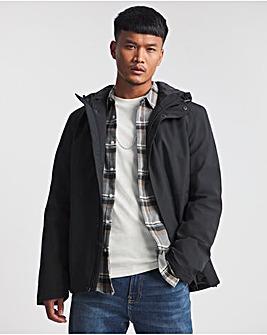 Black Hooded Casual Tech Jacket