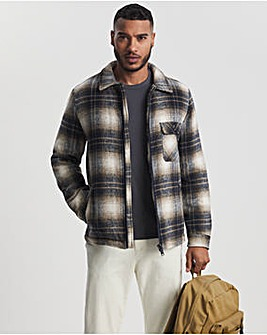 Check Quilted Lined Zip Shacket