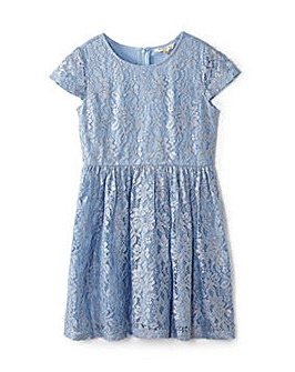Yumi Girl Foiled Metallic Lace Dress