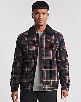 Check Trucker Jacket with Borg Collar