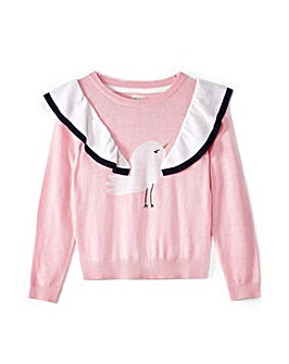 Yumi Girl Flying Bird Intarsia Jumper