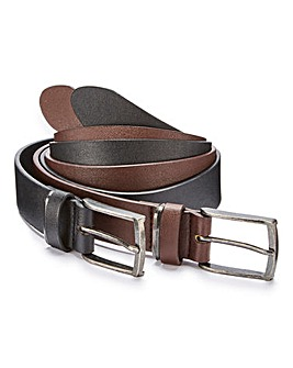 Pack of 2 PU Bonded Leather Belts